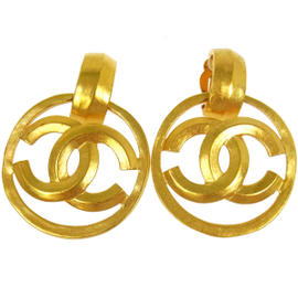 Chanel CC Logos Gold Tone Clip Earrings