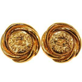 Chanel CC Logos Gold Tone Button Earrings