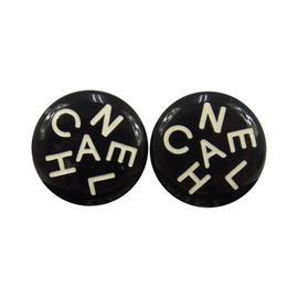 Chanel CC Logos Black Button Earrings