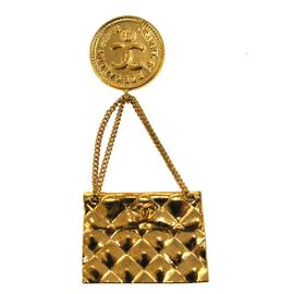 Chanel Bag Motif CC Logos Gold Tone Pin Brooch