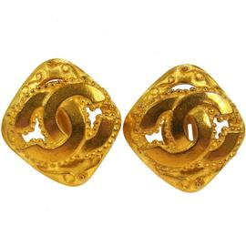 Chanel CC Logos Gold Tone Square Earrings