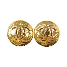 Chanel CC Logos Button Earrings