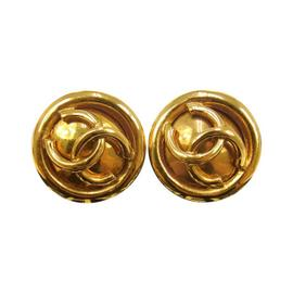 Chanel CC Logos Gold Button Earrings