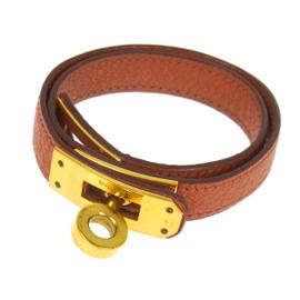 Hermes Logos Kelly Orange Leather Bracelet