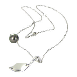 Mikimoto 18K White Gold South Sea Black Pearl & 0.14ct Diamond Necklace