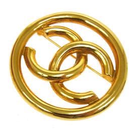 Chanel CC Logos Brooch Pin Gold Tone