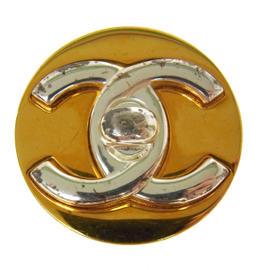 Chanel CC Logos Gold Tone Brooch Pin