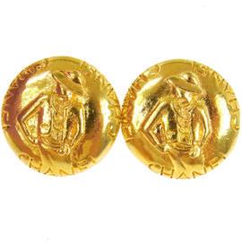 Chanel Gold Tone CC Logos Button Earrings