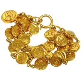 Chanel CC Logos Medallion Gold Chain Bracelet