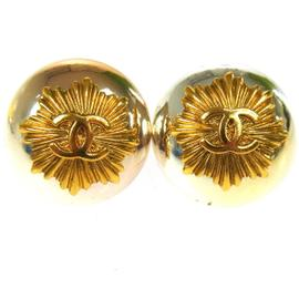 Chanel Silver Tone and Gold Tone CC Logos Button Earrings