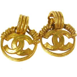 Chanel Gold Tone CC Logos Earrings