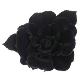 Chanel CC Logos Flower Black Brooch Pin