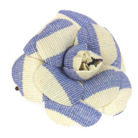Chanel Blue and White Canvas CC Logos Flower Brooch