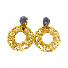 Chanel CC Logos Gold Tone Stone Earrings
