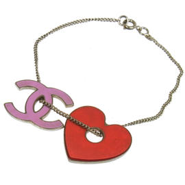 Chanel CC Logos Heart Motif Silver Chain Bracelet