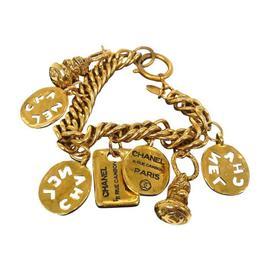 Chanel CC Logos Gold Tone Chain Bracelet