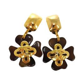 Chanel CC Logos Clover Motif Tortoiseshell Earrings