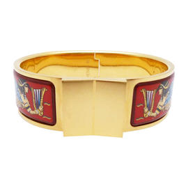 Hermes Gold Tone Red Multi Color Bracelet