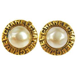 Chanel CC Logos Imitation Pearl Earrings