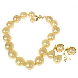 Chanel CC Logos Imitation Pearl Necklace Earrings