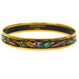 Hermes H Logos Cloisonne Ware Black Gold Bangle