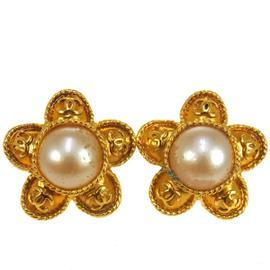 Chanel CC Logos Flower Imitation Pearl Earrings