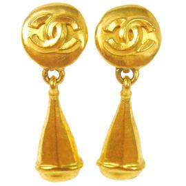 Chanel CC Logos Gold Tone Earrings