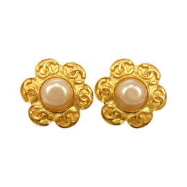 Chanel CC Logos Gold-Tone Imitation Pearl Earrings