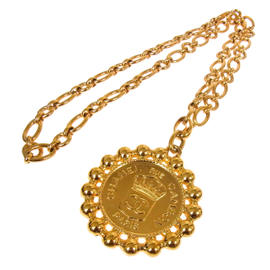 Chanel Gold Tone CC Logos Medallion Necklace