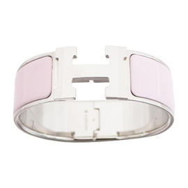 Hermes Silver Tone Enamel Pink Bracelet