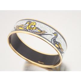 Hermes Goldtone Enamel Multicolor Wide Cloisonne Bangle Bracelet