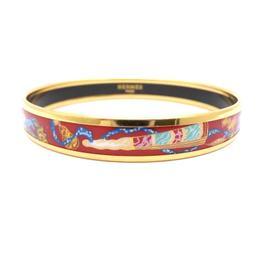 Hermes Goldtone Enamel Multicolor Narrow Cloisonne Bangle Bracelet