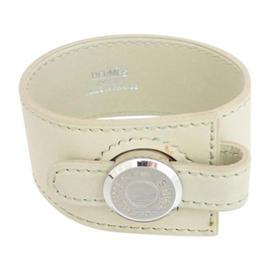 Hermes Leather Silvertone Selle Beige Bracelet