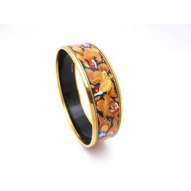 Hermes Goldtone Enamel Multicolor Bangle Bracelet