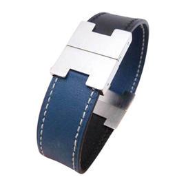 Hermes Silvertone Blue Black Leather Logos Reversible Bracelet
