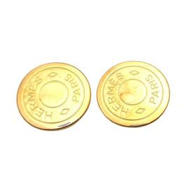 Hermes Bijouterie Fantaisie Selle Goldtone Earrings