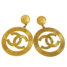 Chanel CC Logos Gold Tone Jumbo Earrings
