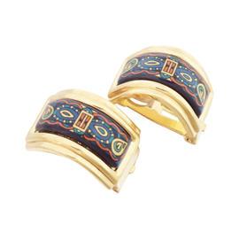 Hermes Goldtone Cloisonne Multicolor Earrings