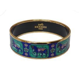 Hermes Goldtone Multicolor Enamel Bangle Bracelet