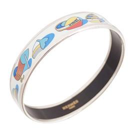 Hermes Silvertone Cloisonne Bracelet Multicolor
