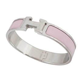 Hermes Silver Tone Pink Bangle Bracelet
