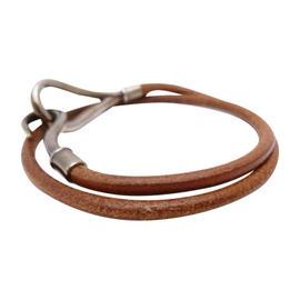 Hermes Silver Tone Brown Leather Bracelet
