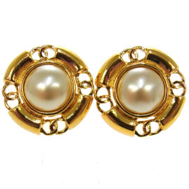 Chanel Gold Tone and Pearl CC Logos Earrings