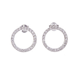 Sterling Silver & Circle Eternity Cubic Zirconia Earrings