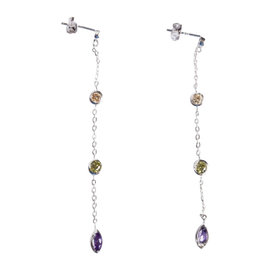 Sterling Silver & Colored Cubic Zirconia Dangle Earrings