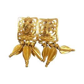 Chanel CC Logos Fringe Motif Earrings