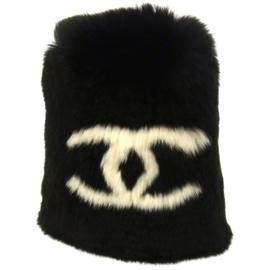 Chanel CC Logos Lapin Rabbit Fur Bracelet Black