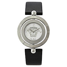 Versace EON V7901 0014 Pearl Dial Black Leather Band Womens Watch