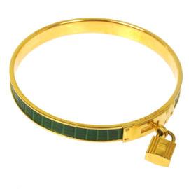 Hermes H Gold Tone Logos Kelly Green Lizard Bangle