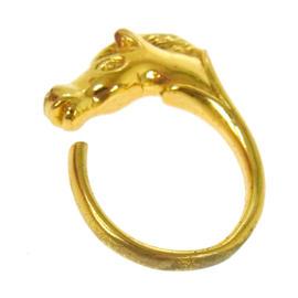 Hermes Logos Horse Motif Gold Ring